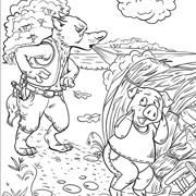 דפי צביעה מהאגדות: זאב נושף על בית מקש