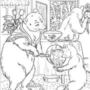 דפי צביעה מהאגדות: אמא דובה מוזגת דייסה לדוב הקטן