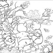 דפי צביעה מהאגדות: הזאב בורח והחזירים רוקדים