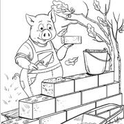 דפי צביעה מהאגדות: חזיר בונה בית מלבנים