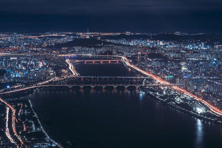 תמונות של סיאול: נהר ההאן בלילה