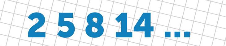 חידות: סדרת מספרים 2,5,8,14...