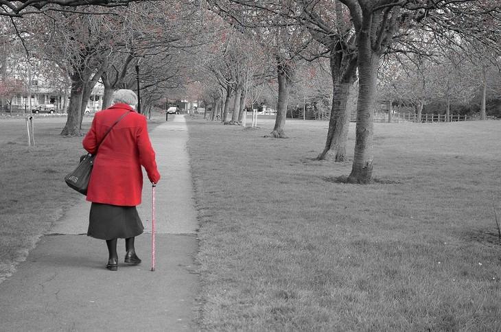 יתרונות בריאותיים של סויה: אישה מבוגרת צועדת בשביל ונעזרת במקל הליכה