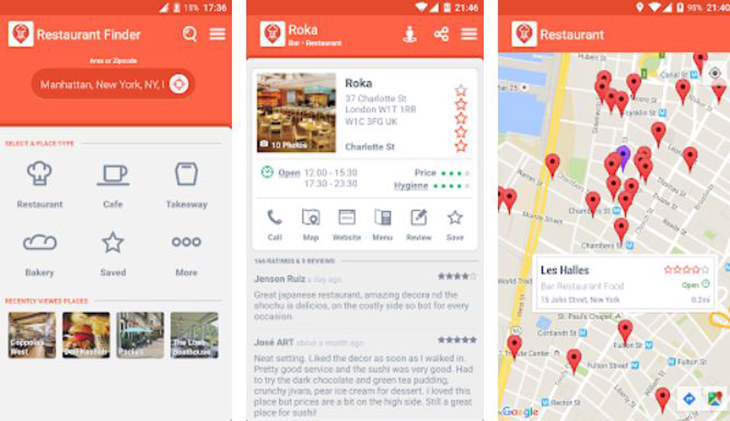 אפליקציות טיולים מומלצות: צילומי מסך של אפליקציית Restaurant Finder