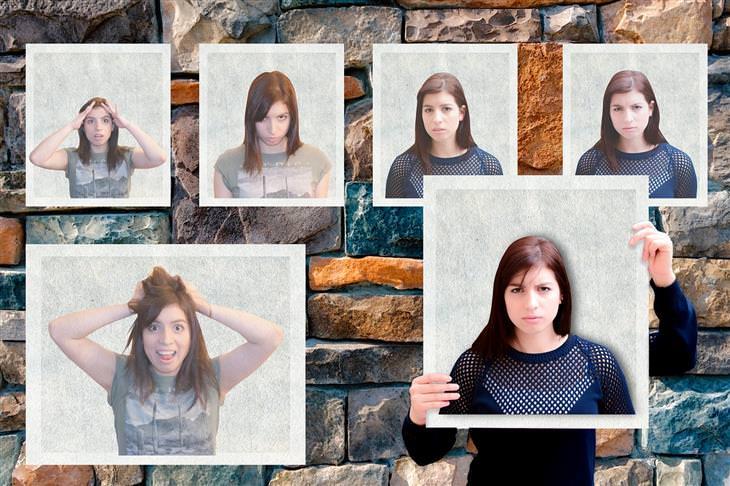 סימנים לזיהוי שפת גוף: קולאז' של אישה עם הבעות פנים שונות