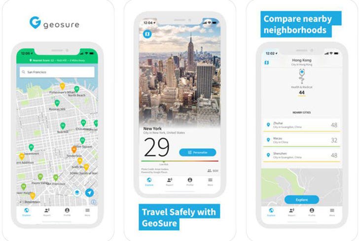אפליקציות טיולים מומלצות: צילומי מסך מאפליקציית GeoSure