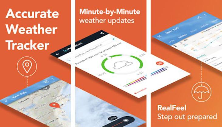 אפליקציות טיולים מומלצות: צילומי מסך מאפליקציית AccuWeather