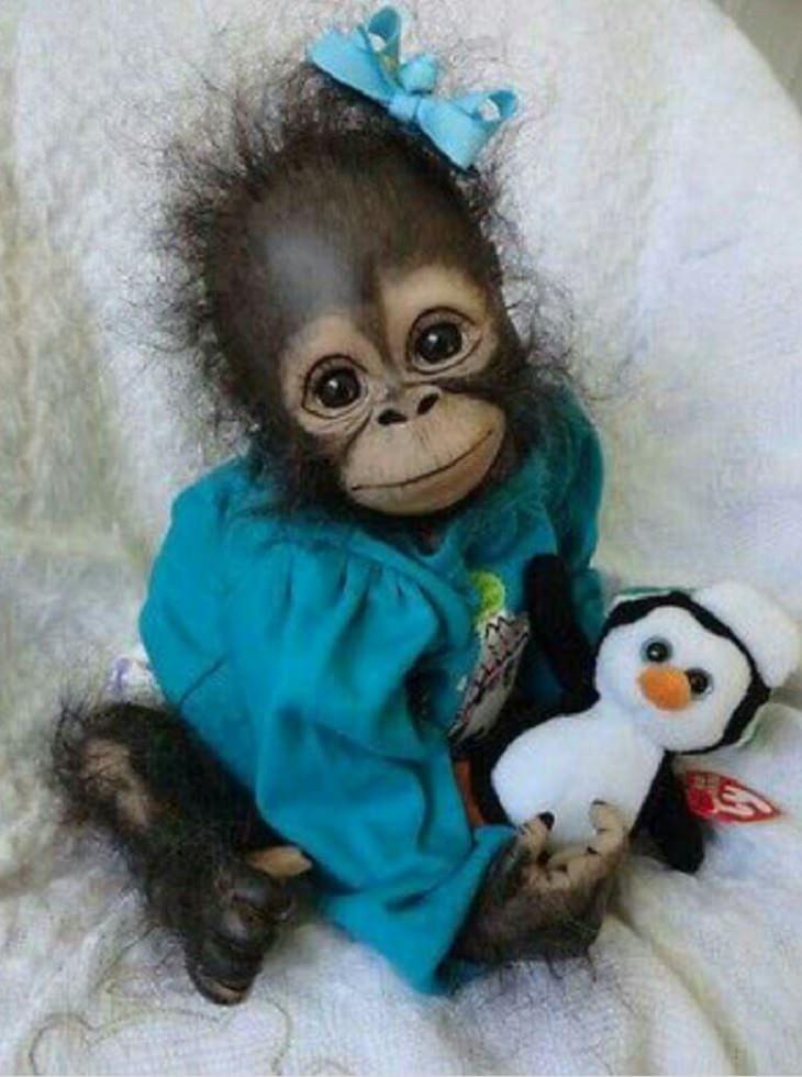 חיות חמודות ומצחיקות: קופה לבושה בשמלה ומחזיקה בובת פינגווין