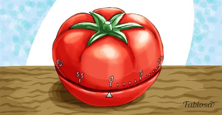 טכניקות לניהול זמן נכון: ציור של טיימר בצורת עגבנייה