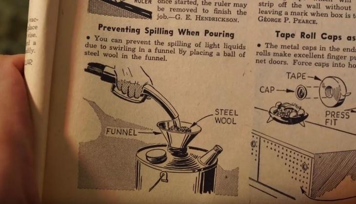 טיפים משנות ה-60: הציור המקורי של המשפך והבקבוק מהספר הישן