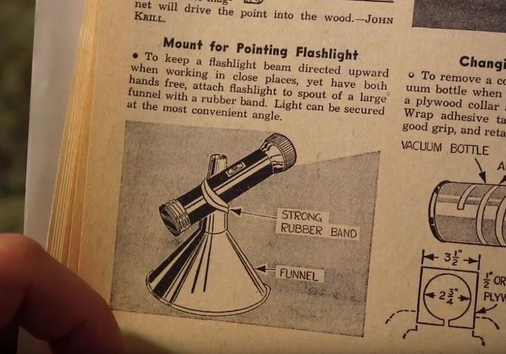 טיפים משנות ה-60: פנס מוצמד עם גומיה למשפך הפוך - ציור מקורי מתוך הספר