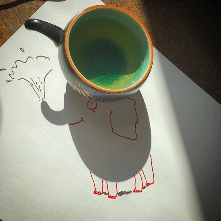 ציורים עם צל: ציור של פיל