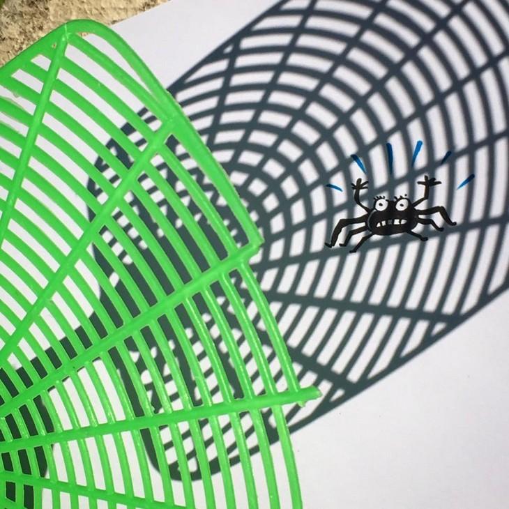 ציורים עם צל: ציור של עכביש