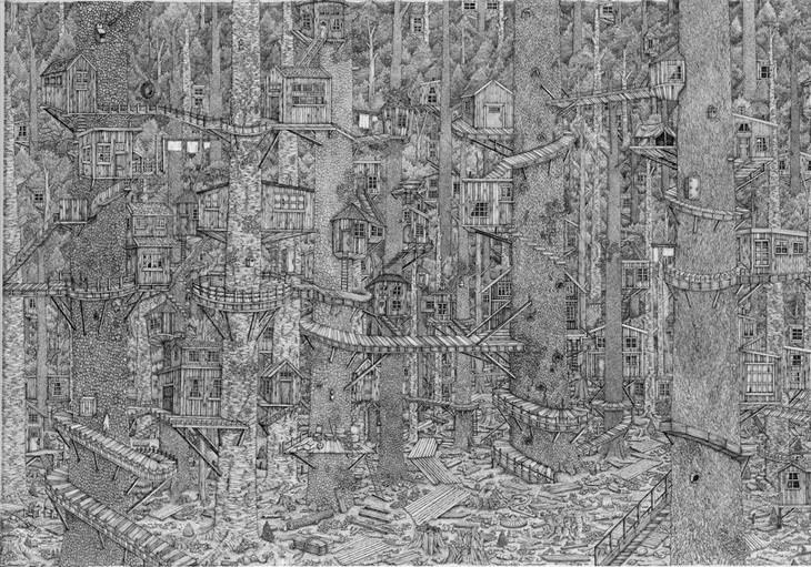 ציורים מפורטים: אחת מעבודות האמנות של אוליביה קמפ