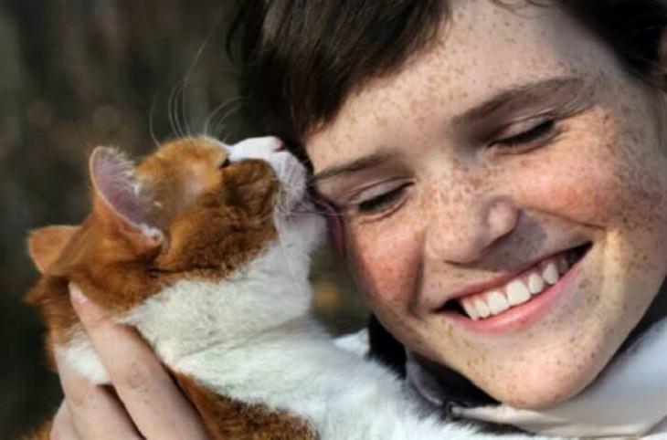 """איך חתול אומר """"אני אוהב אותך""""?: חתול מלקק אישה בפניה"""