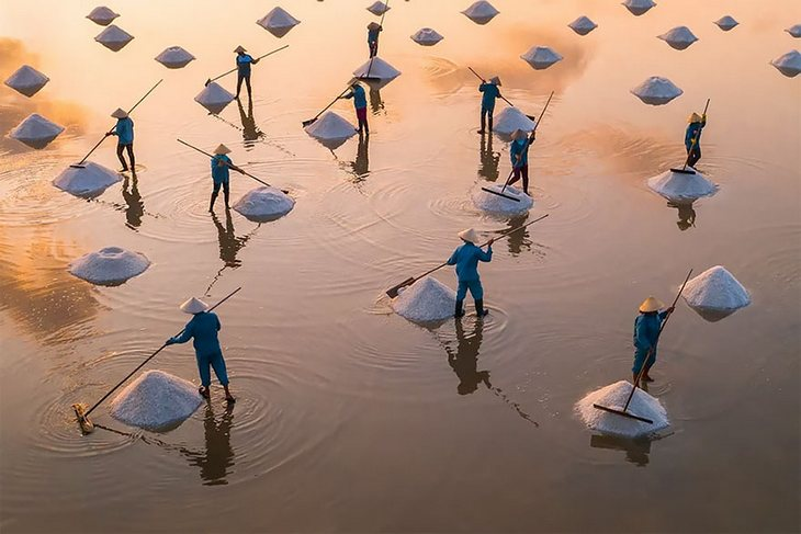 """תמונות יפות ומדהימות מרחפן: """"שדות המלח של הון קוי, וייטנאם"""" צולם על ידי Trung Pham"""