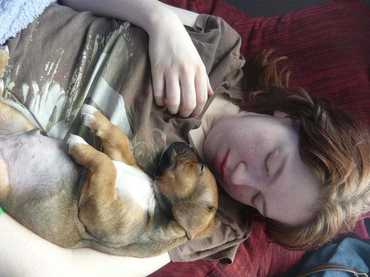 יתרונות של שינה עם בעלי חיים: צעירה ישנה חבוקה עם כלבה