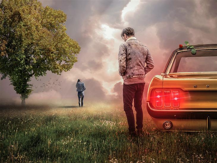 טיפים לזוגיות מוצלחת ומאושרת: איש עומד ליד מכונית עם ורד עליה ובמרחק עומדת אישה לבדה