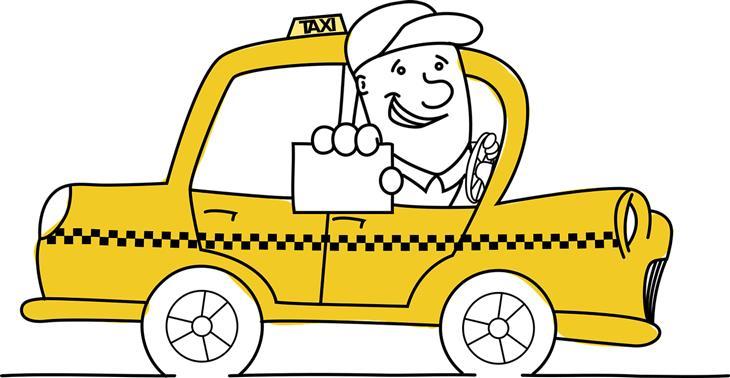 נקמה בנהג מונית: איור של מונית ונהג