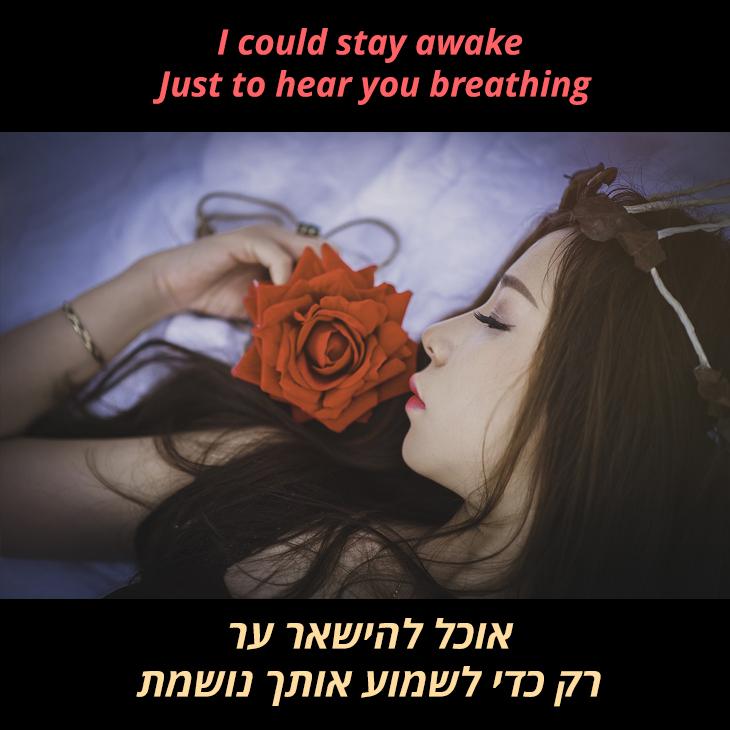 תרגום לשיר I dont want to miss a thing: אוכל להישאר ער רק כדי לשמוע אותך נושמת