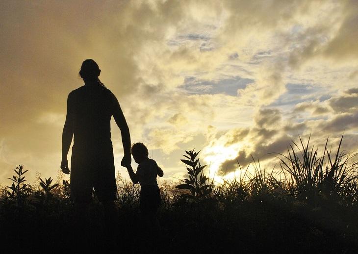 כללים להענשת ילדים: צלליות של הורה וילדו הולכים בשדה לעת שקיעה