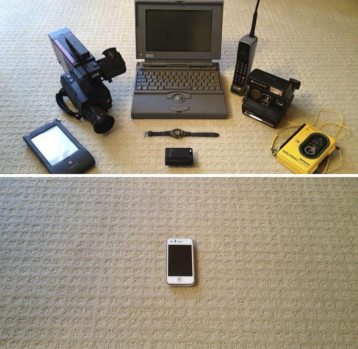 השוואות של תמונות: מחשב, טלפון, מצלמות, שעון וג'יפיאס בשנת 1990 מול היום