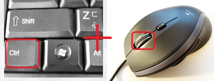 טיפים לשימוש במחשב: תמונה של עכבר עם סימון על גלגלת לצד תמונה של כפתור ה-Ctrl