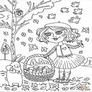 דפי צביעה לסתיו: ילדה אוספת פטריות כשברקע עלי שלכת