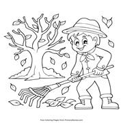 דפי צביעה לסתיו: ילד מגרף עלים