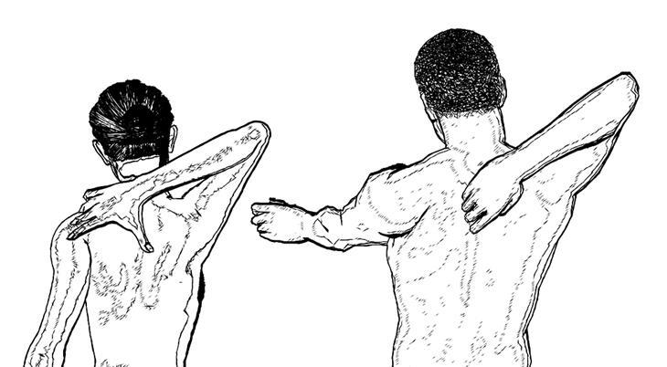הסיבה האמיתית לכאבי גב: איור של אנשים מותחים את ידיהם אחורה אל הגב