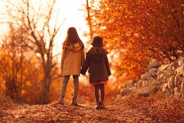 תמונות סתיו מדהימות:  שתי ילדות מטיילות ביער