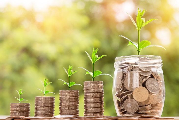 פודקאסטים כלכליים מומלצים: צנצנת מטבעות ולצידה מטבעות מסודרים מגדלים, ומכולם צומחים צמחים\