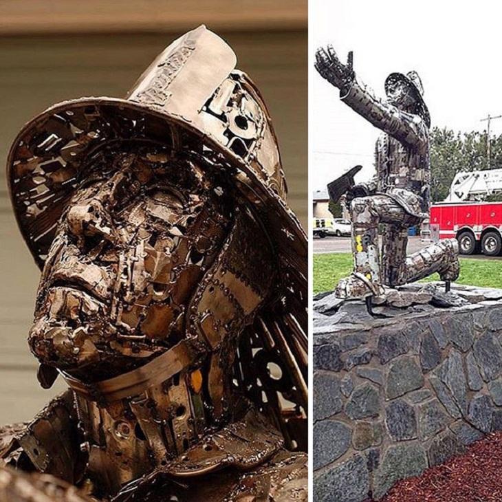 פסלים ממתכת ממוחזרת: חייל שכורע ברך ומושיט את ידו למעלה