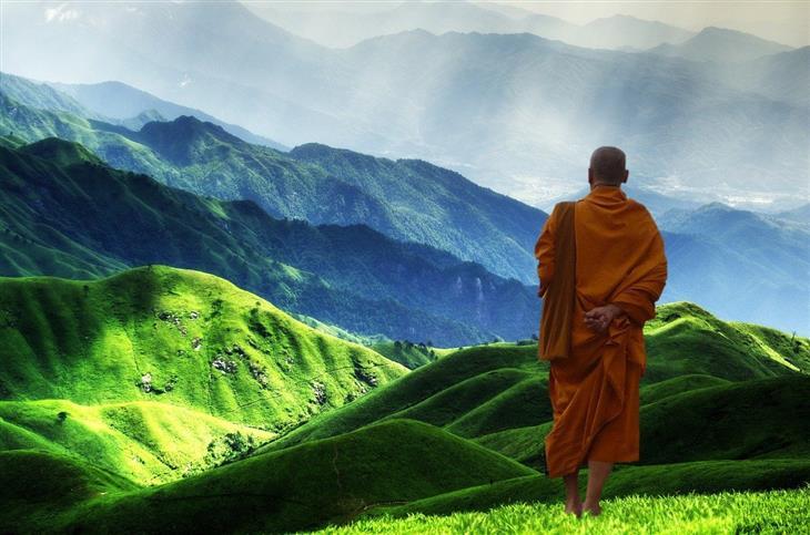 בדיחה למה הפכתי לנזיר: נזיר עומד מול גבעות ירוקות