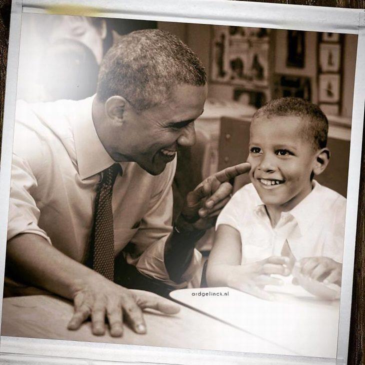 תמונות של מפורסמים עם עצמם מפעם: ברק אובמה