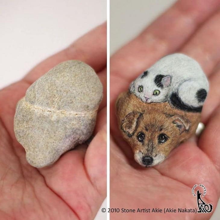 ציורי חיות על אבנים: ציור של חתול וכלב על אבן