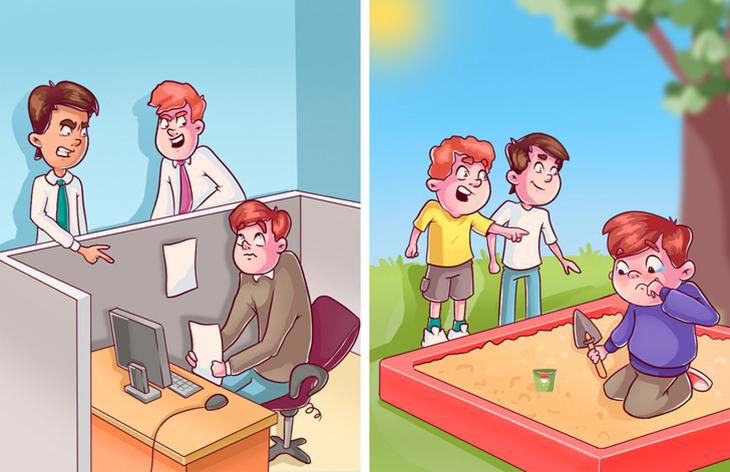 רעיונות שגויים שאנחנו מכניסים לראש של הילדים: ילד שבריונים צוחקים עליו בארגז החול ואדם מבוגר שבריונים צוחקים עליו במשרד
