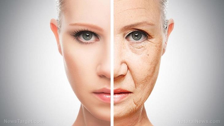 טיפול בקמטים: עם עם פנים חצויות, צד עם קמטים וצד ללא קמטים