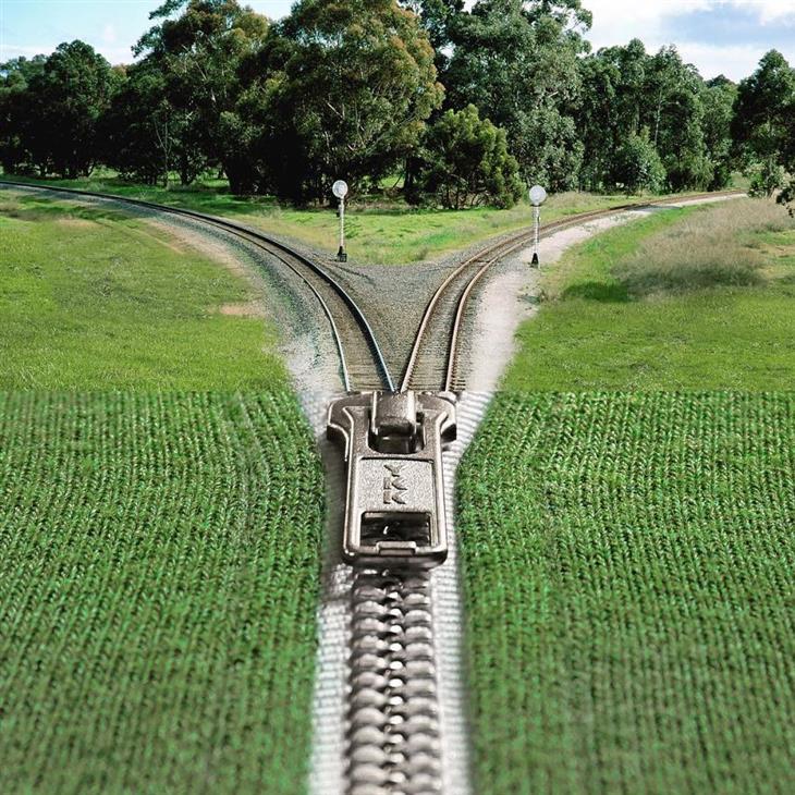 תמונות קולאז' מתעתעות: רוכסן שמתפצל למסילות רכבת