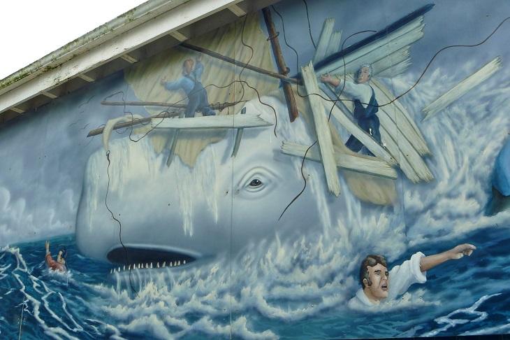 עובדות מפתיעות על לווייתנים: ציור קיר של מובי דיק