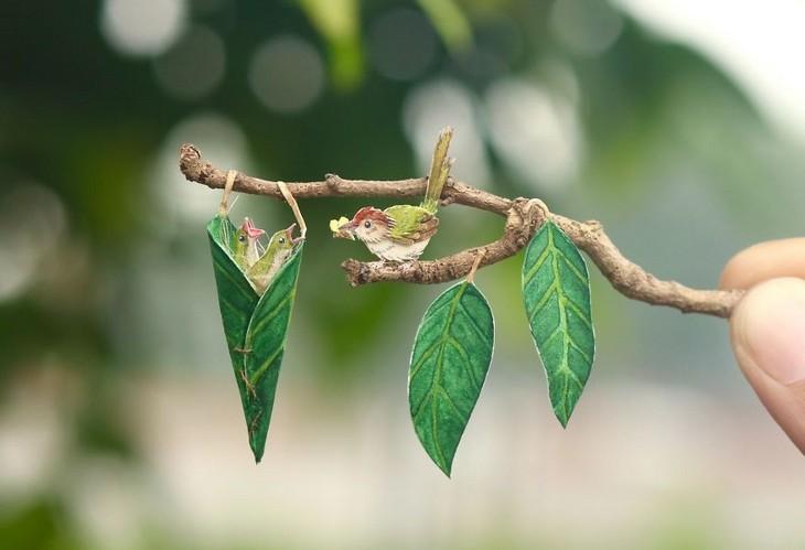 חיות נייר קטנות ומקסימות: ציפור על ענף