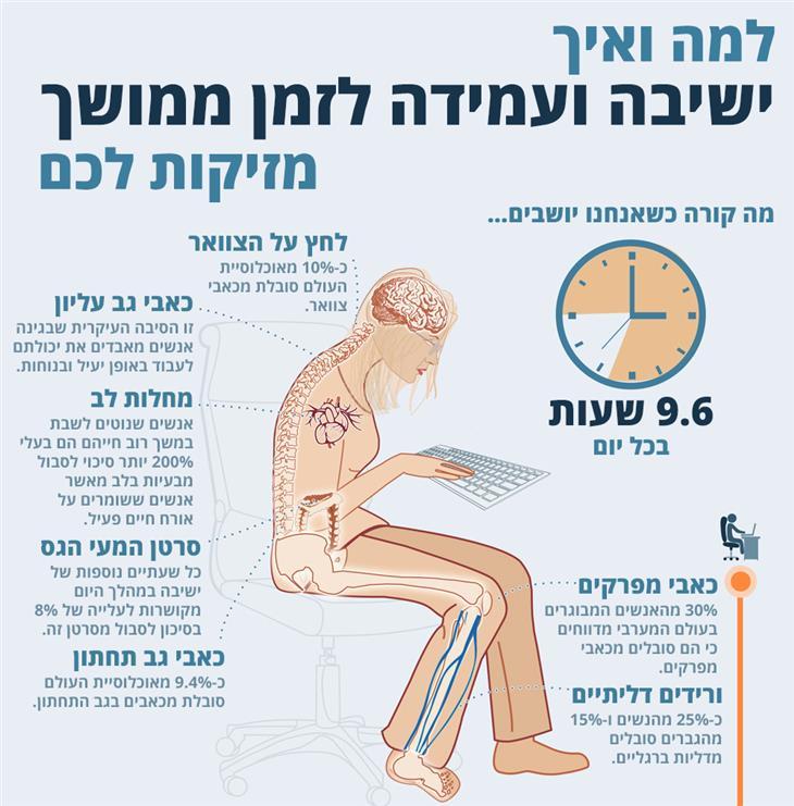 למה ואיך ישיבה ועמידה לזמן ממושך פוגעות בגוף