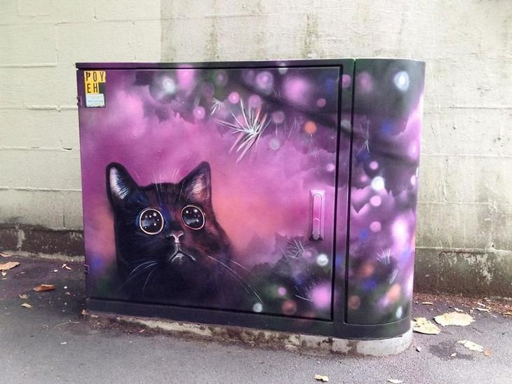 ציורים על ארונות חשמל ותקשורת: חתול