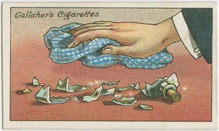 טיפים מלפני 100 שנה: איור של יד של גבר מנקה שברי זכוכית עם מטלית