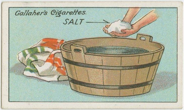 טיפים מלפני 100 שנה: איור של אישה מחזיקה מלח מעל לגיגית מים
