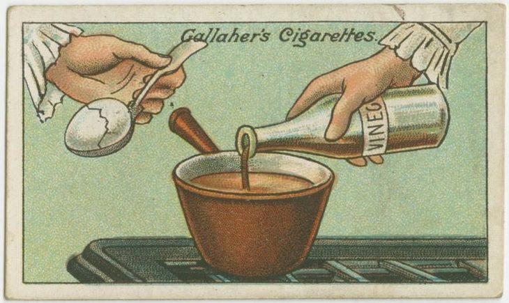 טיפים מלפני 100 שנה: איור של אישה מחזיקה ביצה עם כף ושופכת חומץ לסיר
