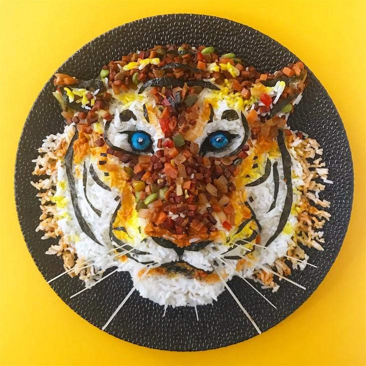 יצירות אמנות באוכל: נמר מאוכל