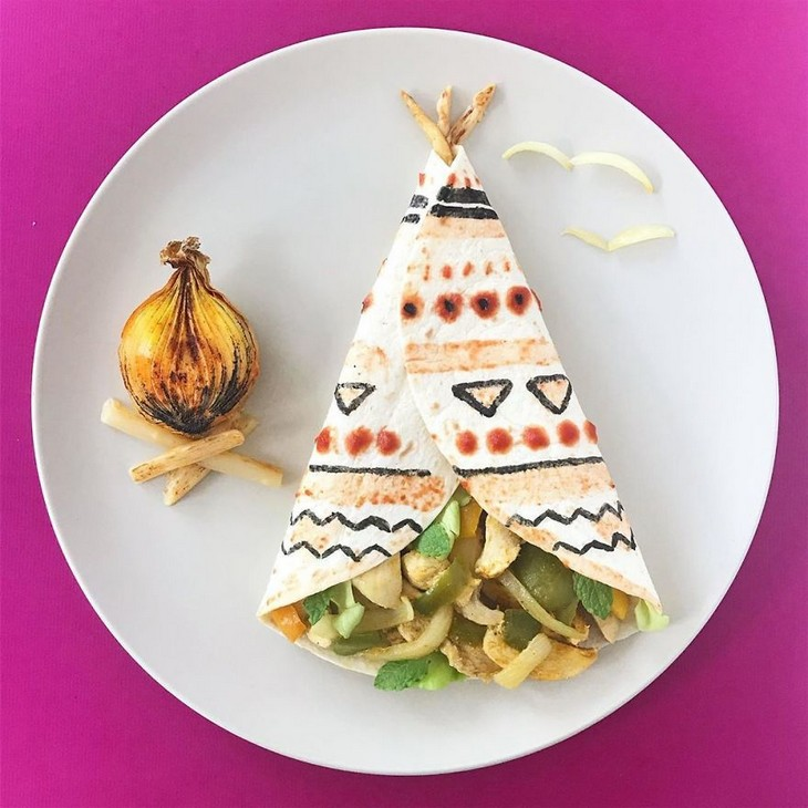 יצירות אמנות באוכל: אוהל ומדורה מאוכל