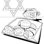 דפי צביעה לחנוכה: סופגניות, סביבון ומגן דוד