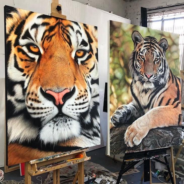 ציורי חיות מדהימים: ציורים של טיגריסים